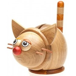 Tirelire chat en bois